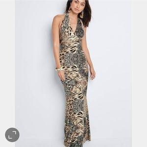Venus   NWOT Halter Maxi Dress Leopard Floral XS